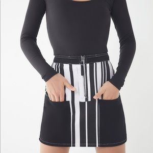 NEW BDG Ruby Striped Zip-Front Black & White Skirt